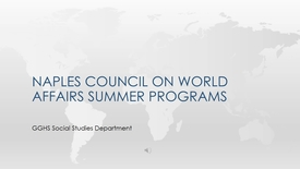 Naples Council on World Affairs - Summer Program Scholarships
